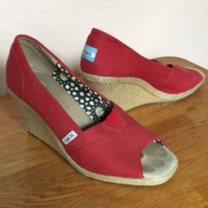 Toms Red wedges heels 8.5